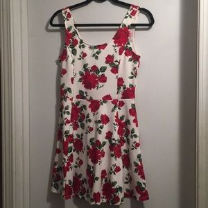 White Skater Dress with Red Roses